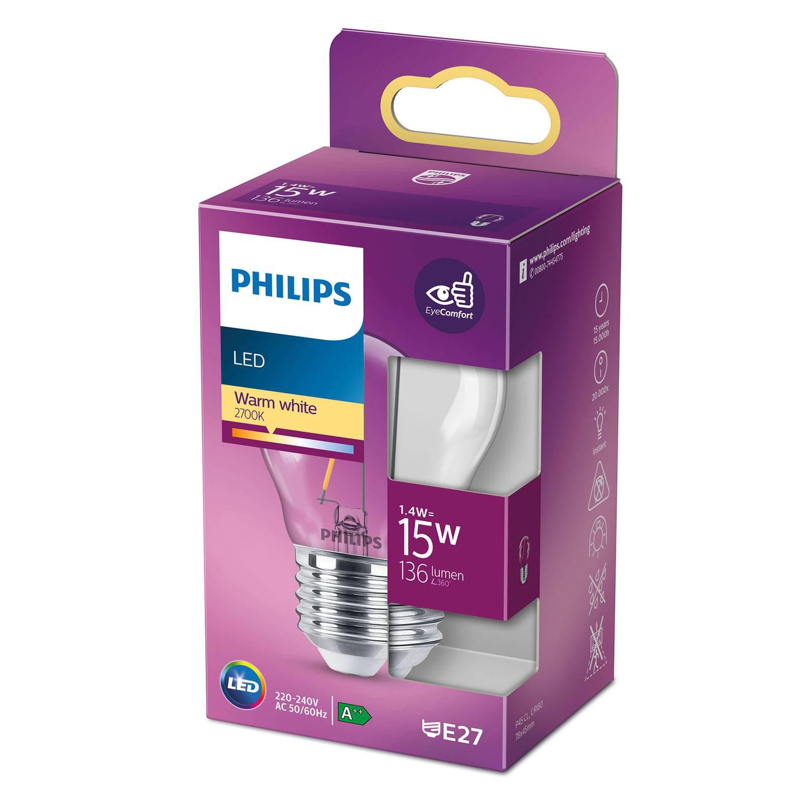 Philips LED Classic dråpepære E27 P45 1,4 W klar