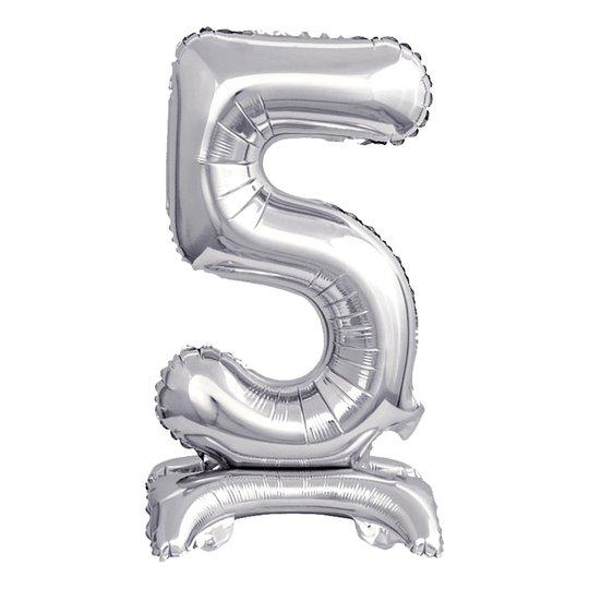 Sifferballong Mini med Ställning Silver Metallic - Siffra 5