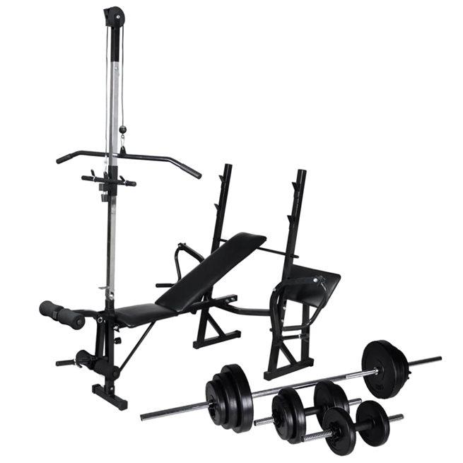 vidaXL Träningsbänk set viktställning skivstång och hantlar 30,5kg