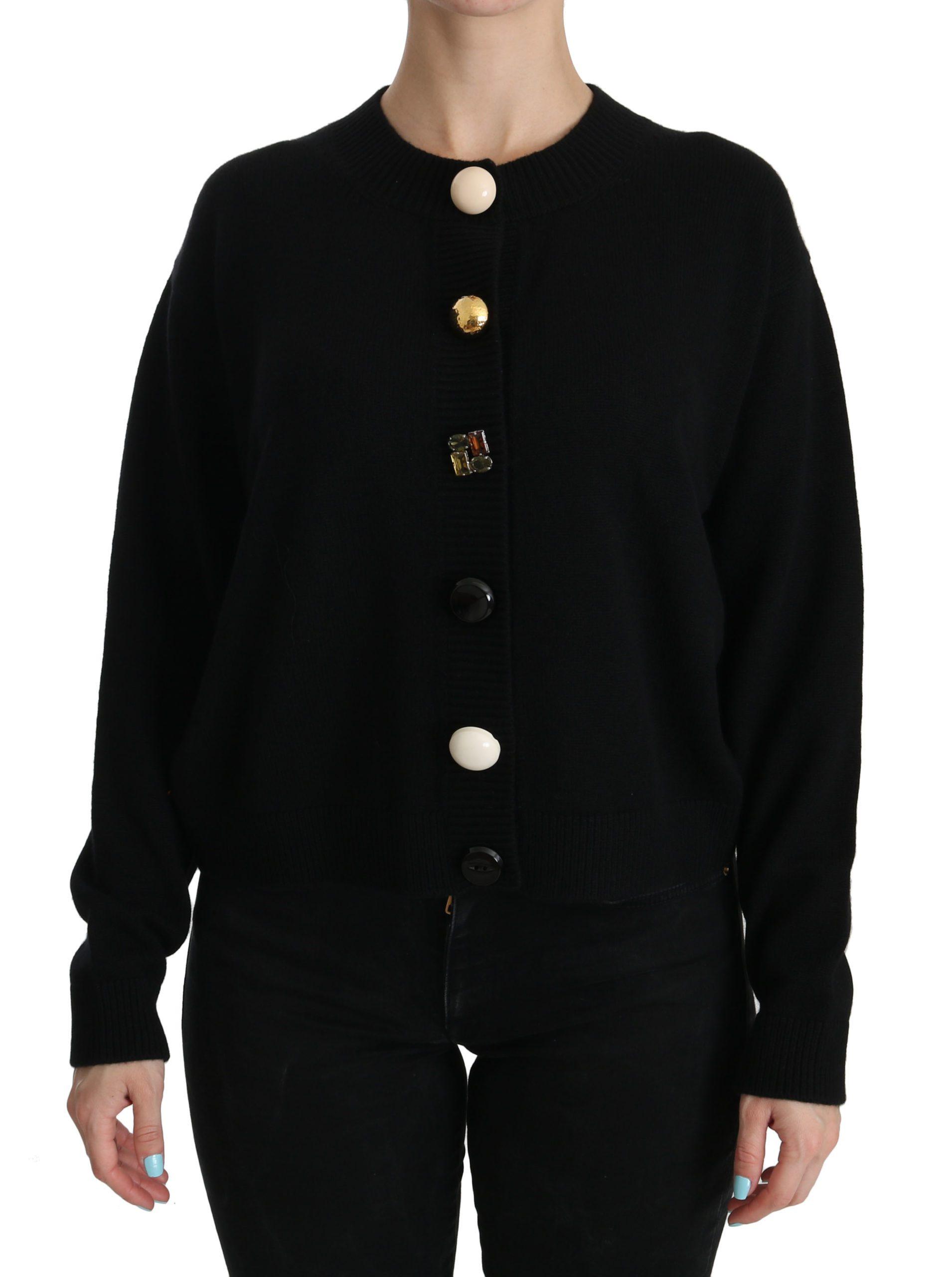Dolce & Gabbana Women's Button Embellished Cardigan Black TSH3861 - IT40|S