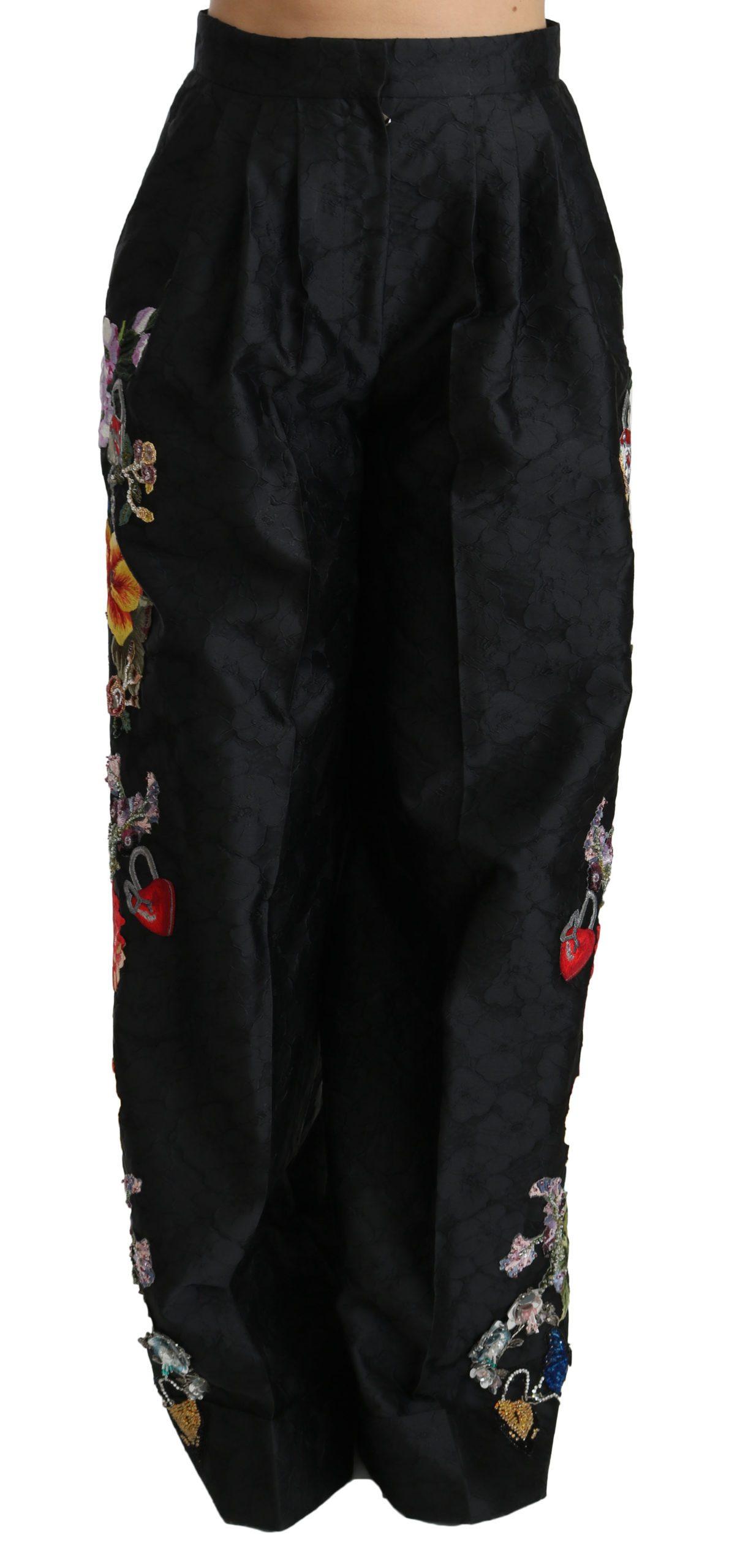 Dolce & Gabbana Brocade Floral Sequined Pants Black PAN70875-42 - IT42|M
