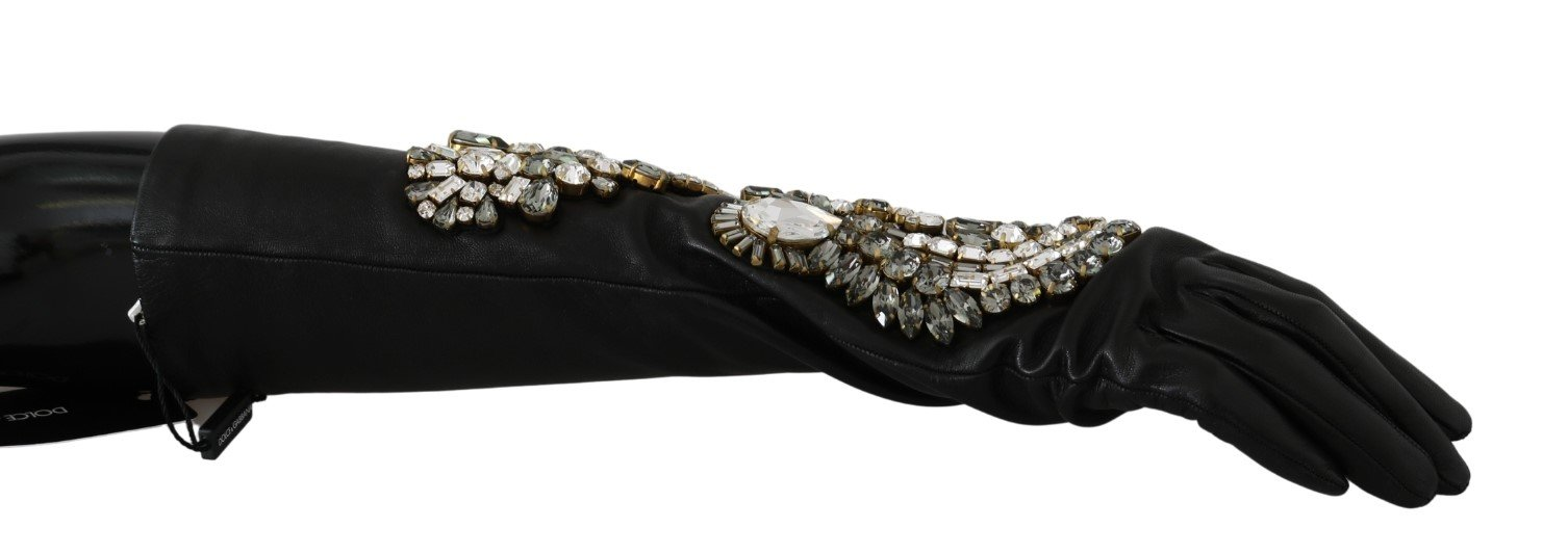 Dolce & Gabbana Women's Crystal Elbow Mittens Leather Gloves Black LB1015 - 7.5|S