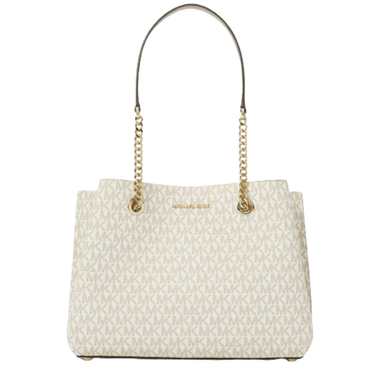 Michael Kors Women's Teagen Large Long Drop Tote Bag White MK27572