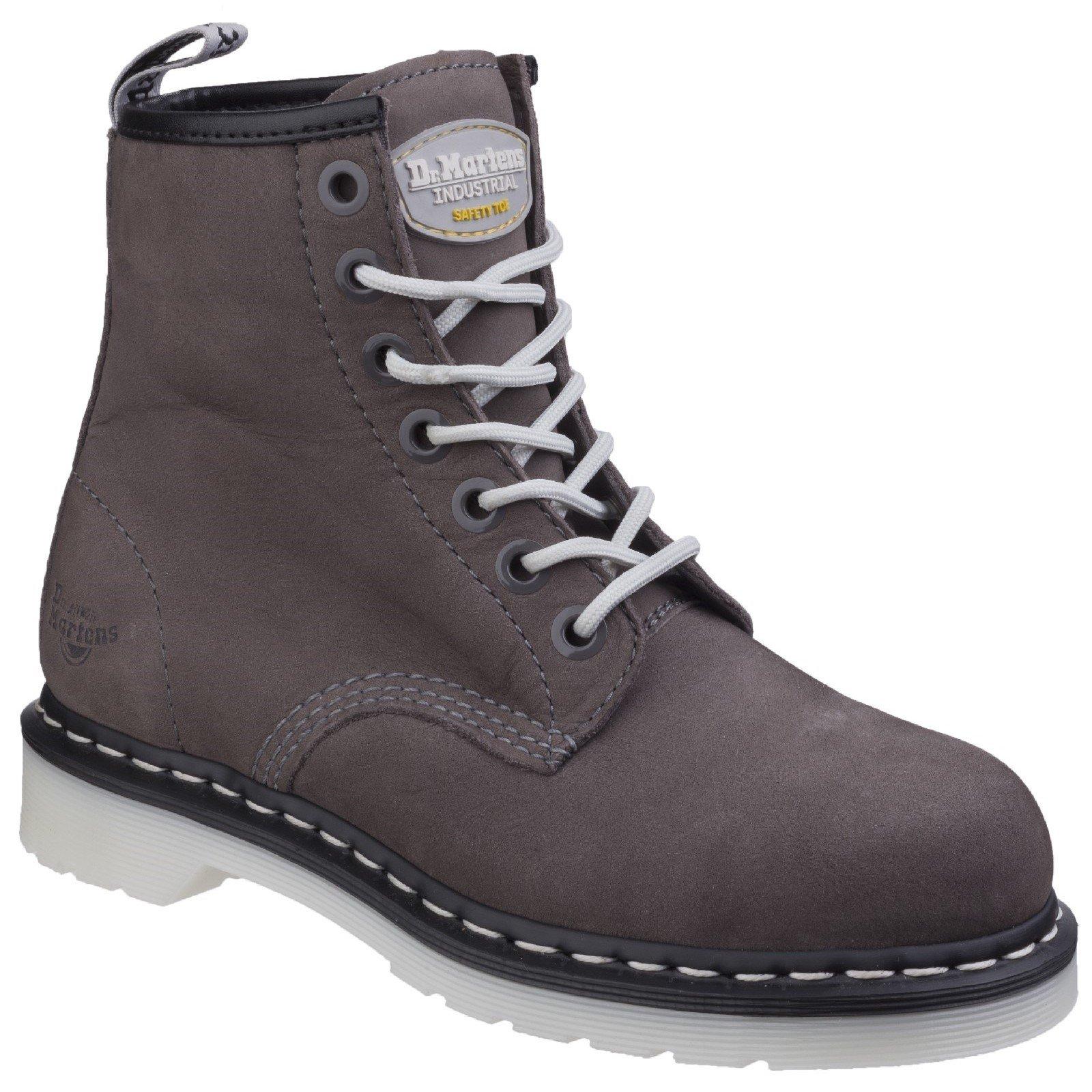 Dr Martens Women's Maple Classic Steel-Toe Work Boot Grey 26783 - Grey Wind River 5