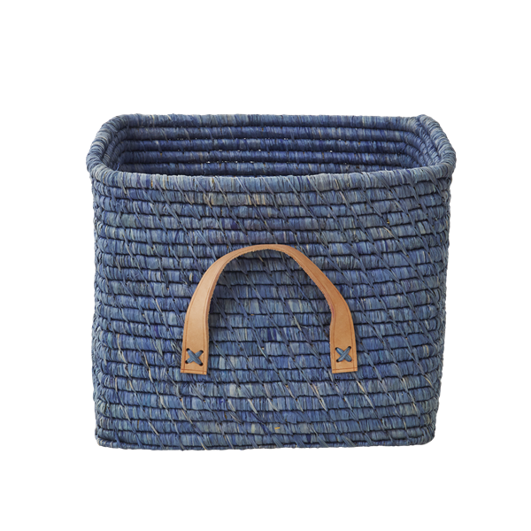 Rice - Small Square Raffia Basket with Leather Handles - Blue