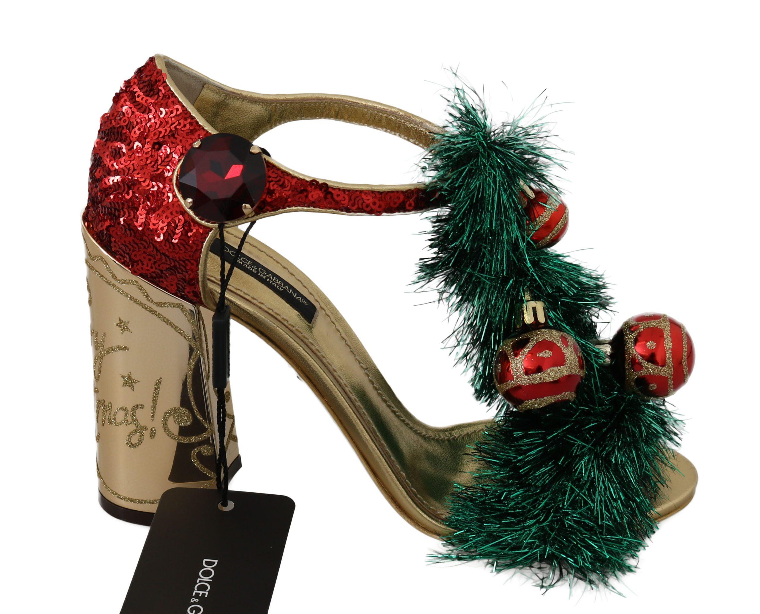 Dolce & Gabbana Women's Leather Crystal CHRISTMAS Sandal Multicolor LA6323 - EU37/US6.5