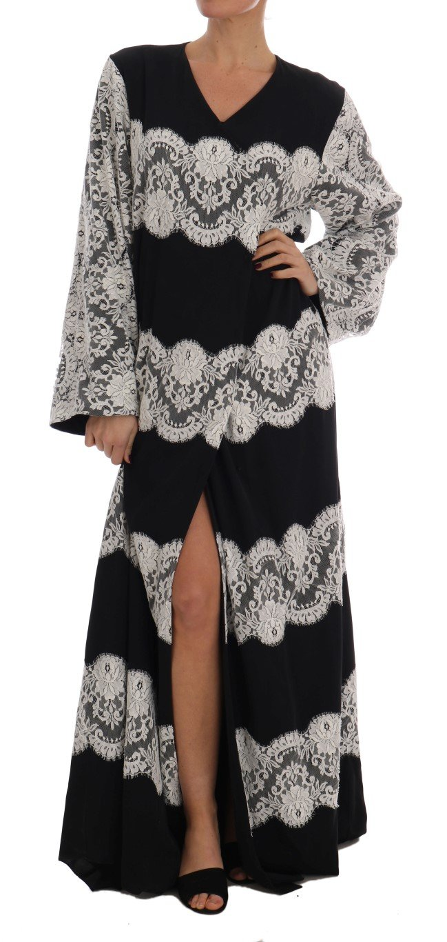 Dolce & Gabbana Women's Silk Floral Lace Kaftan Dress Black DR1401 - IT38|XS