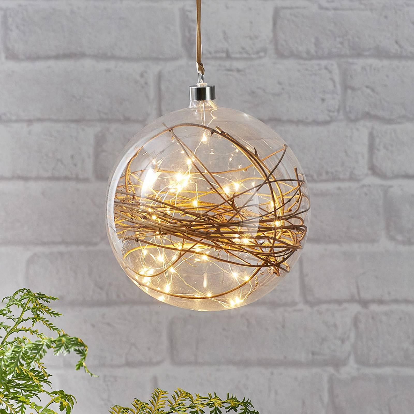 Glow-LED-koristepallo, kirkas, rottinki Ø 20 cm