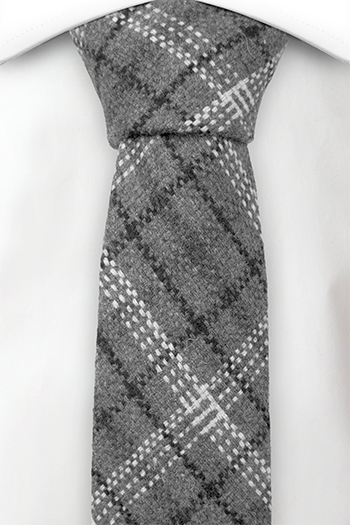 Ull Smale Slips, Plaid in dark grey, black & white, Grå, Pledd, Notch IRFAN