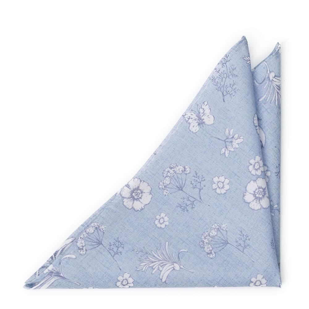 Bomull Lommetørkler, Pudderblå base med hvitt blomstermønster, Blå, Blomster