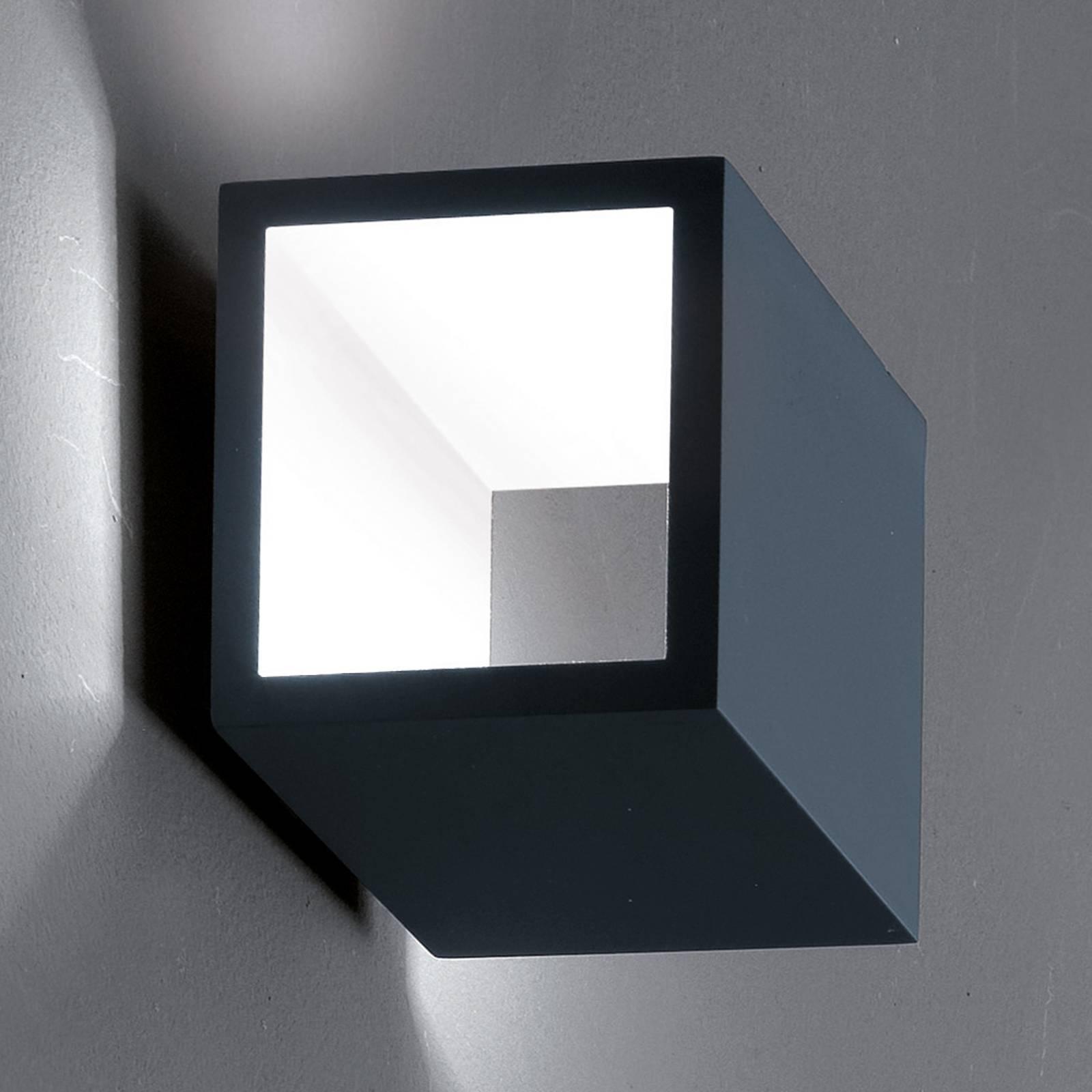 ICONE Cubò-LED-seinävalaisin 10W titaani/valkoinen
