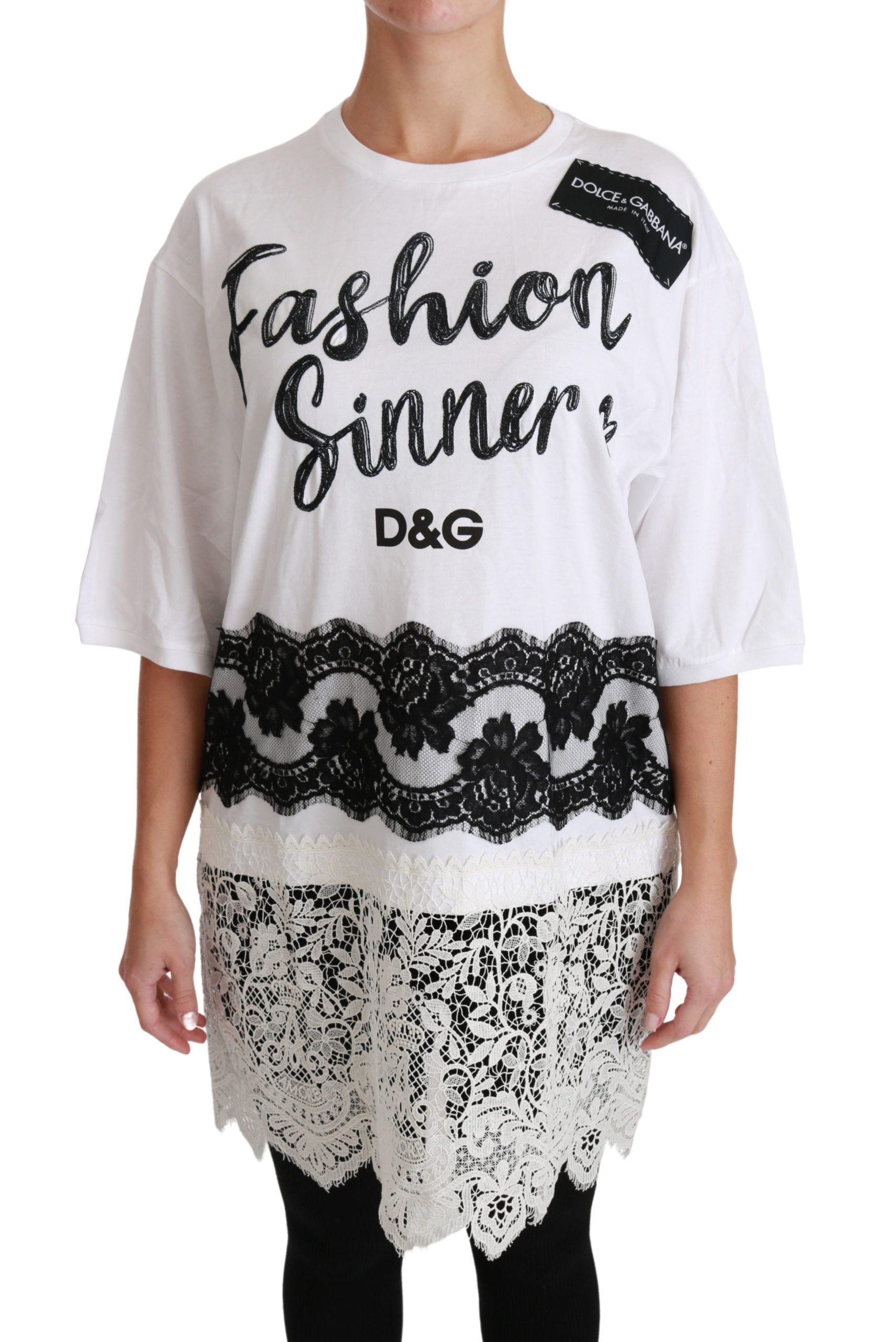 Dolce & Gabbana Women's Lace Fashion Sinners Top White TSH4430 - IT36   XS