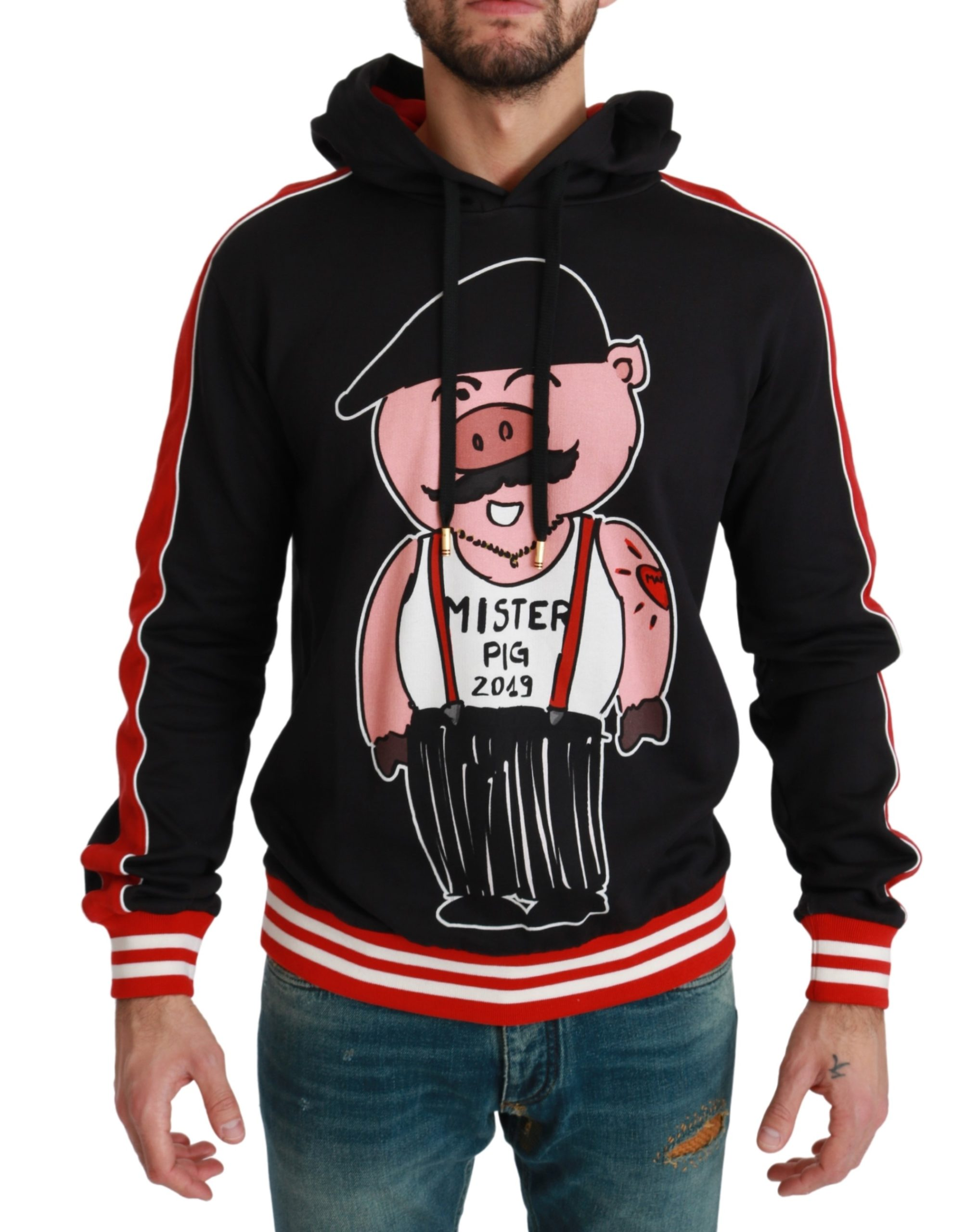 Dolce & Gabbana Men's Pig of the Year Hooded Sweater Black TSH4611 - IT50   L
