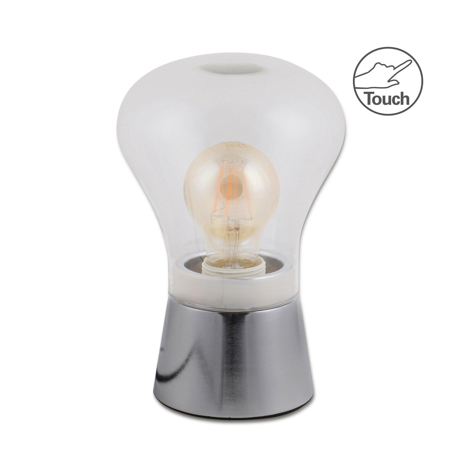 Clare bordlampe av glass, krom