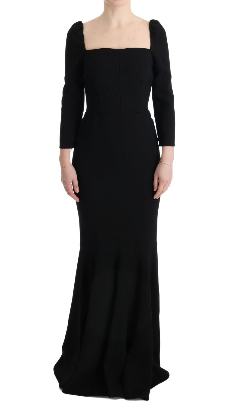Dolce & Gabbana Women's Stretch Crystal Sheath Long Dress Black SIG60657 - IT40|S