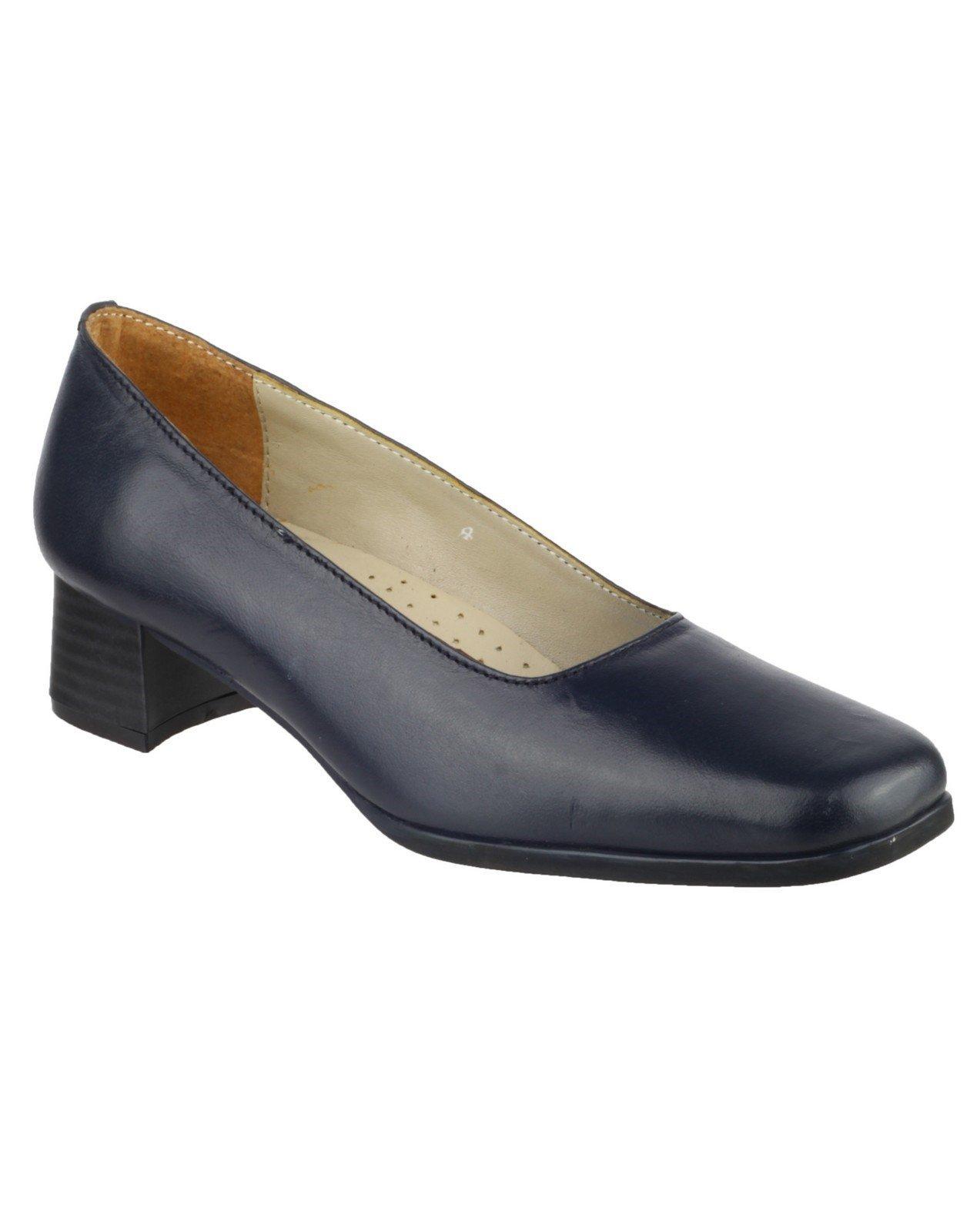 Amblers Women's Walford Ladies Leather Court Shoe Black 15234 - Navy 7