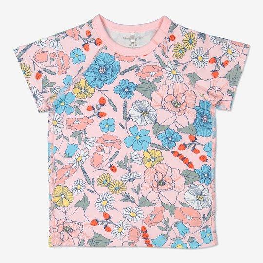 T-skjorte med blomstertrykk baby lysrosa