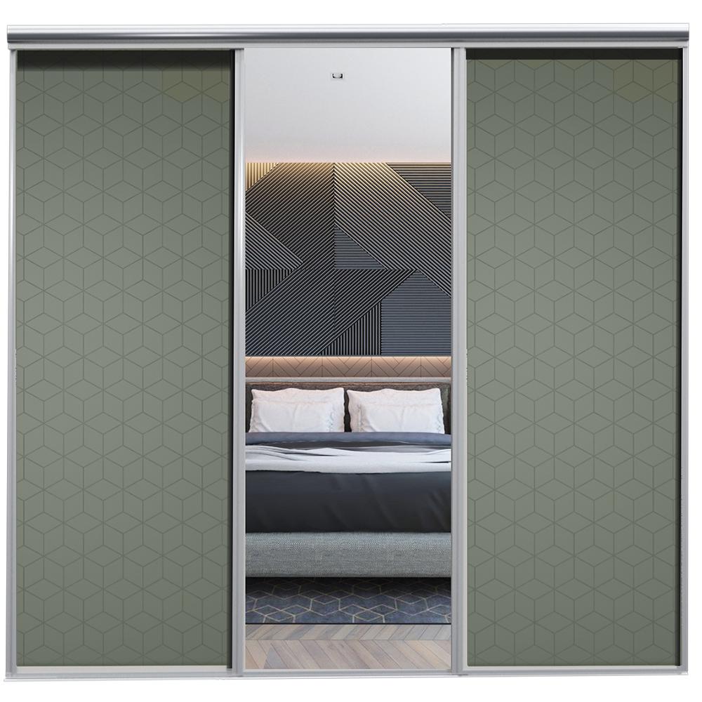Mix Skyvedør Cube Mosegrønn Sølvspeil 2230 mm 3 dører