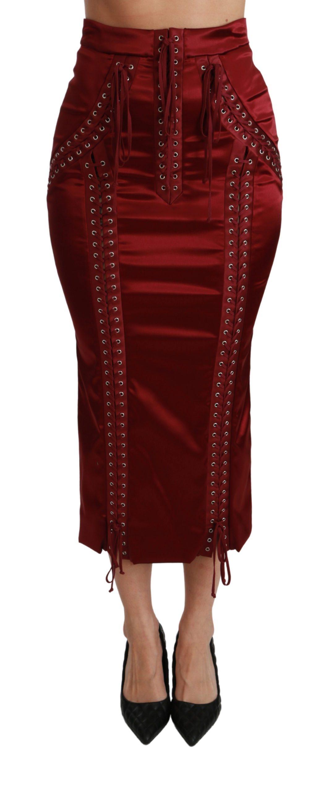 Dolce & Gabbana Women's High Waist Acetate Skirt Black SKI1414 - IT36 | XS