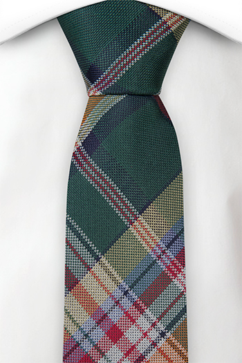 Silke Smale Slips, Fargerik pledd i grønn, rød, blå og grønn, Grønn, Pledd
