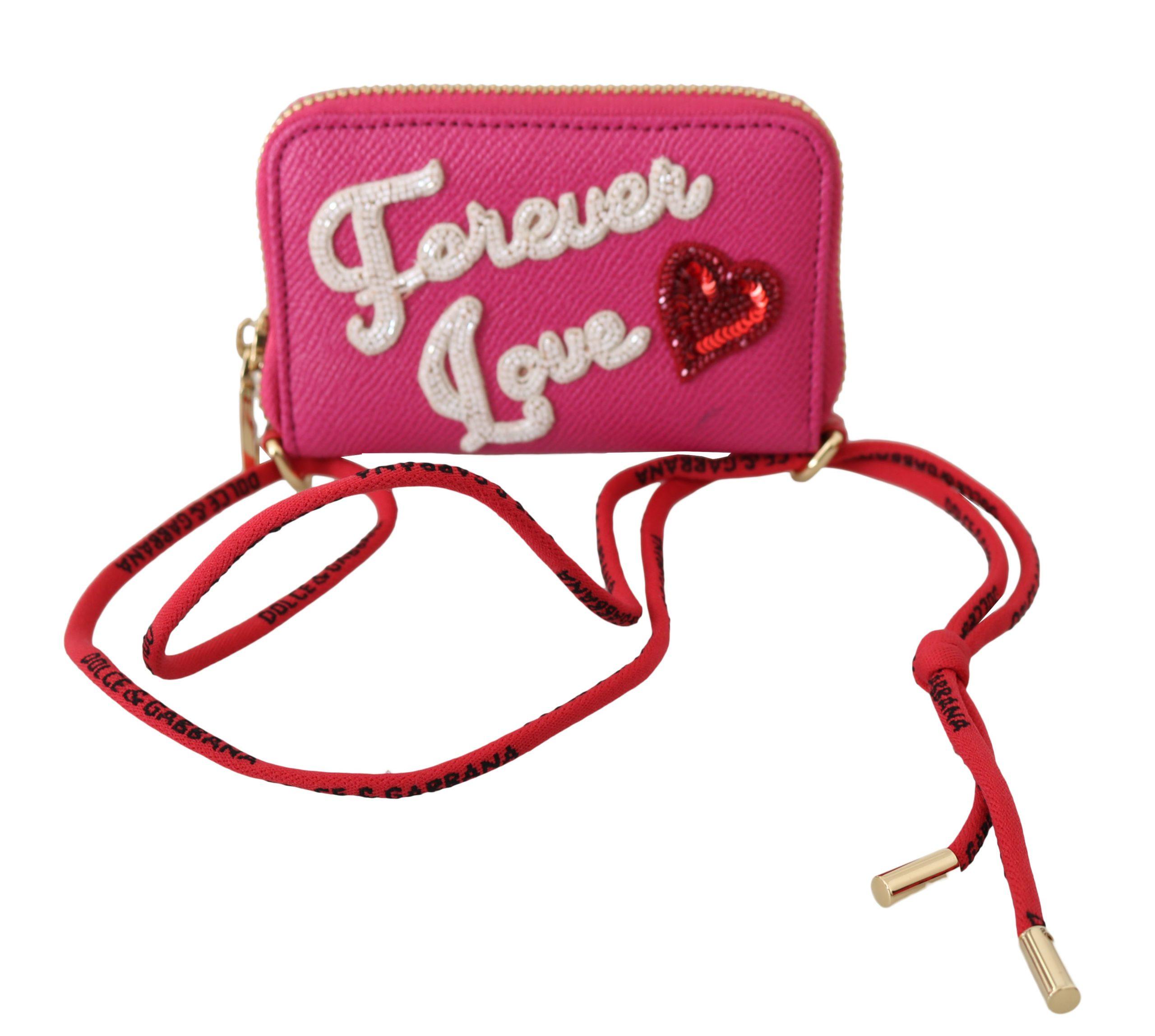 Dolce & Gabbana Women's Forever Love Zipper Leather Wallet Pink VA8736