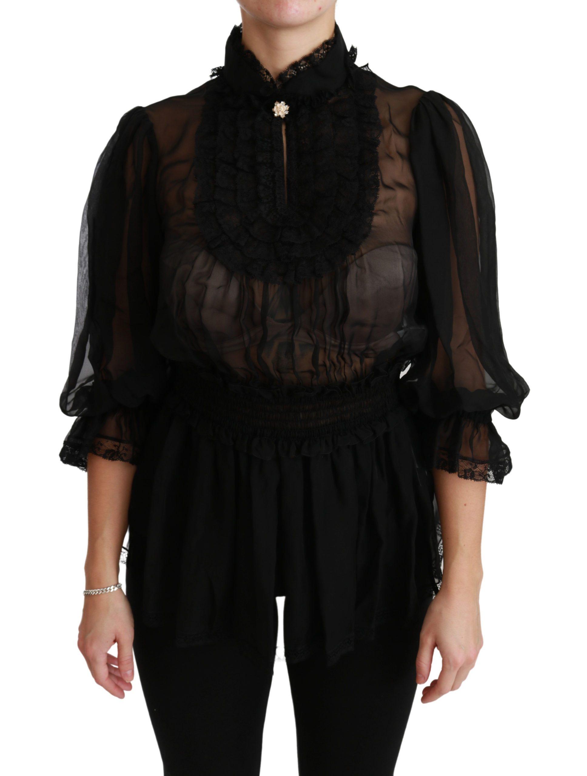 Black Lace Sheer Blouse Shirt Silk Top - IT40|S