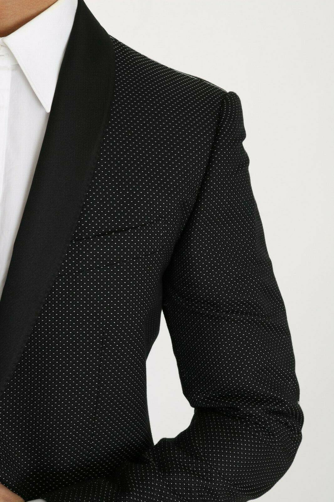 Dolce & Gabbana Men's Cotton Dotted Pattern Blazer Black JKT2270 - IT56 | 3XL