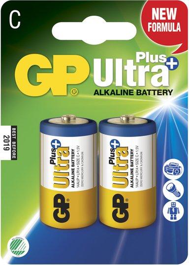 GP Batterier Ultra Plus Alkaline C-batteri LR14 2-pack