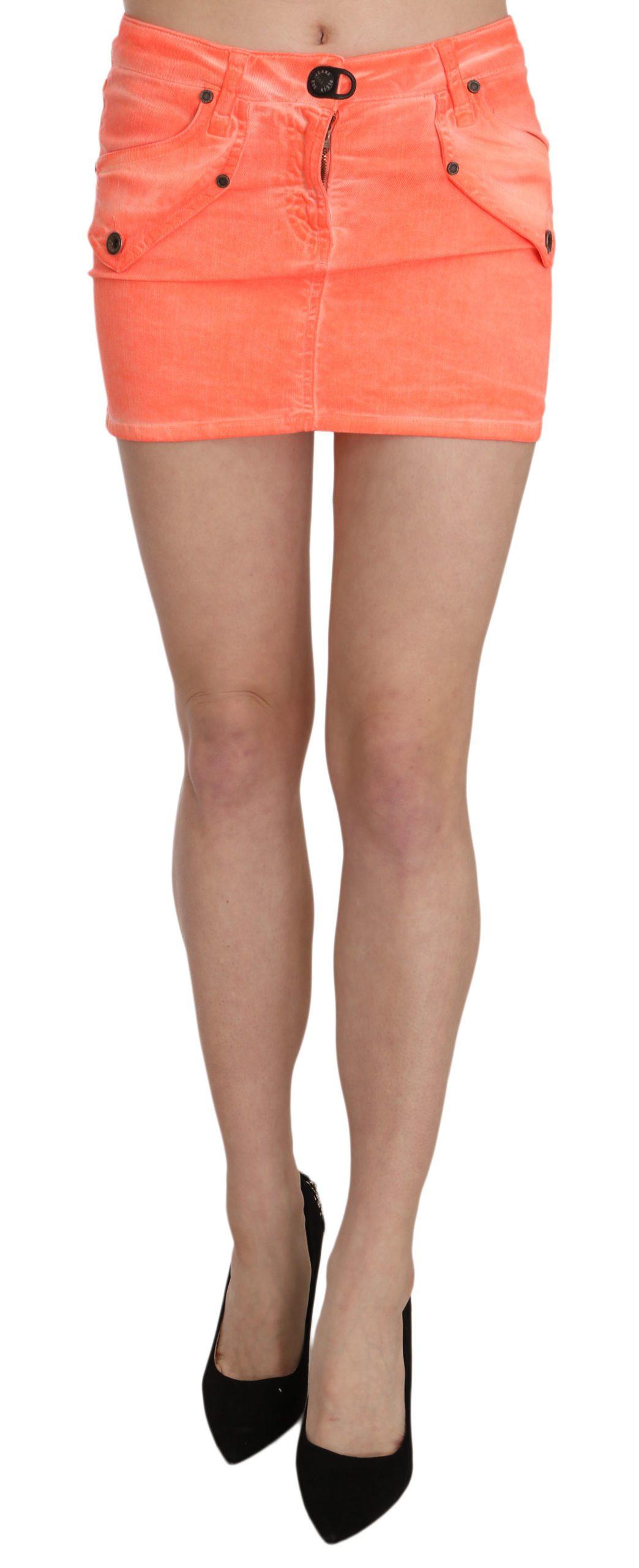 PLEIN SUD Women's Cotton Stretch Casual Mini Skirt Orange PAN70242 - IT36 | XS