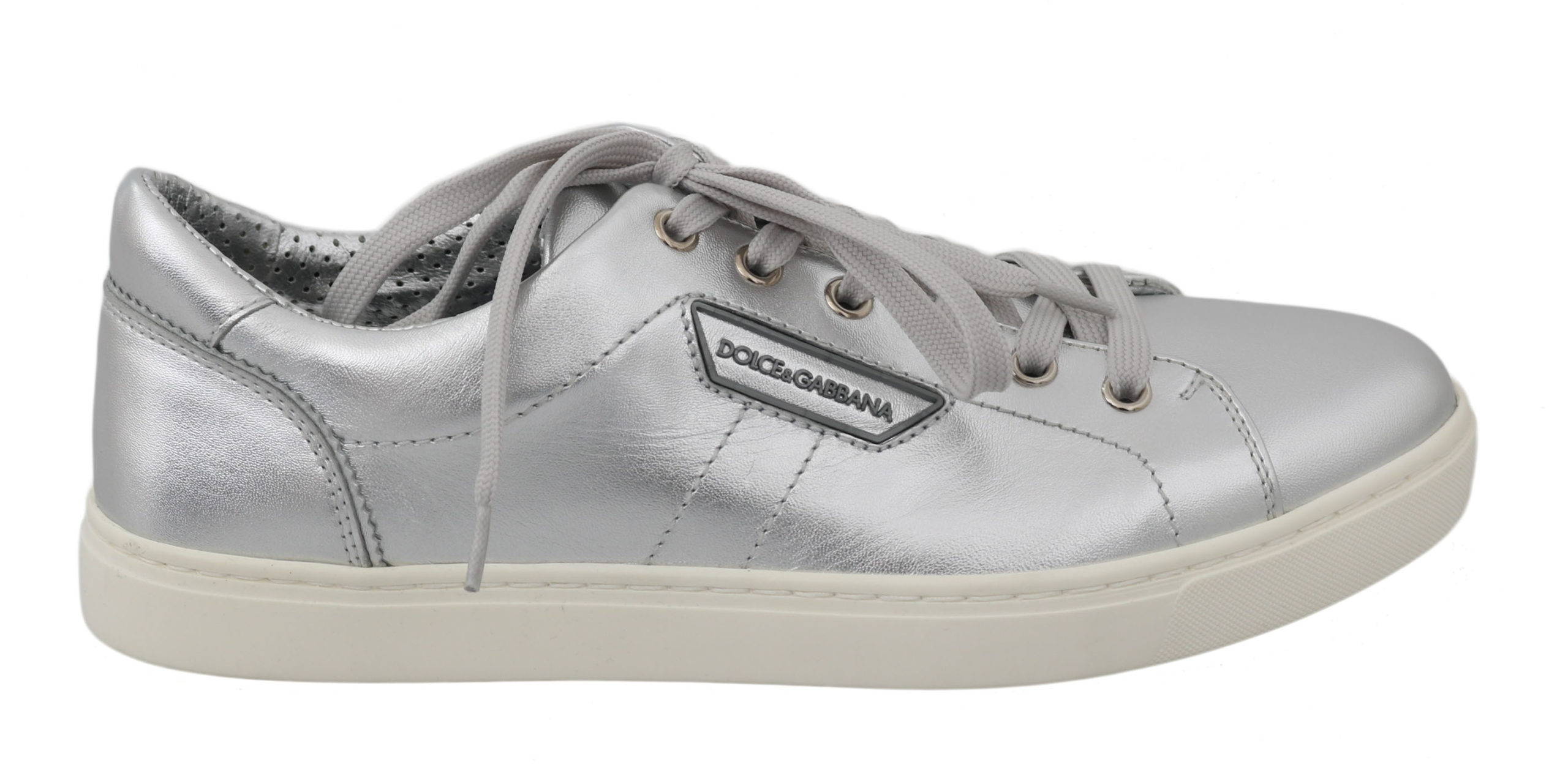 Dolce & Gabbana Men's Leather Casual Trainer Silver MV2329 - EU39/US6