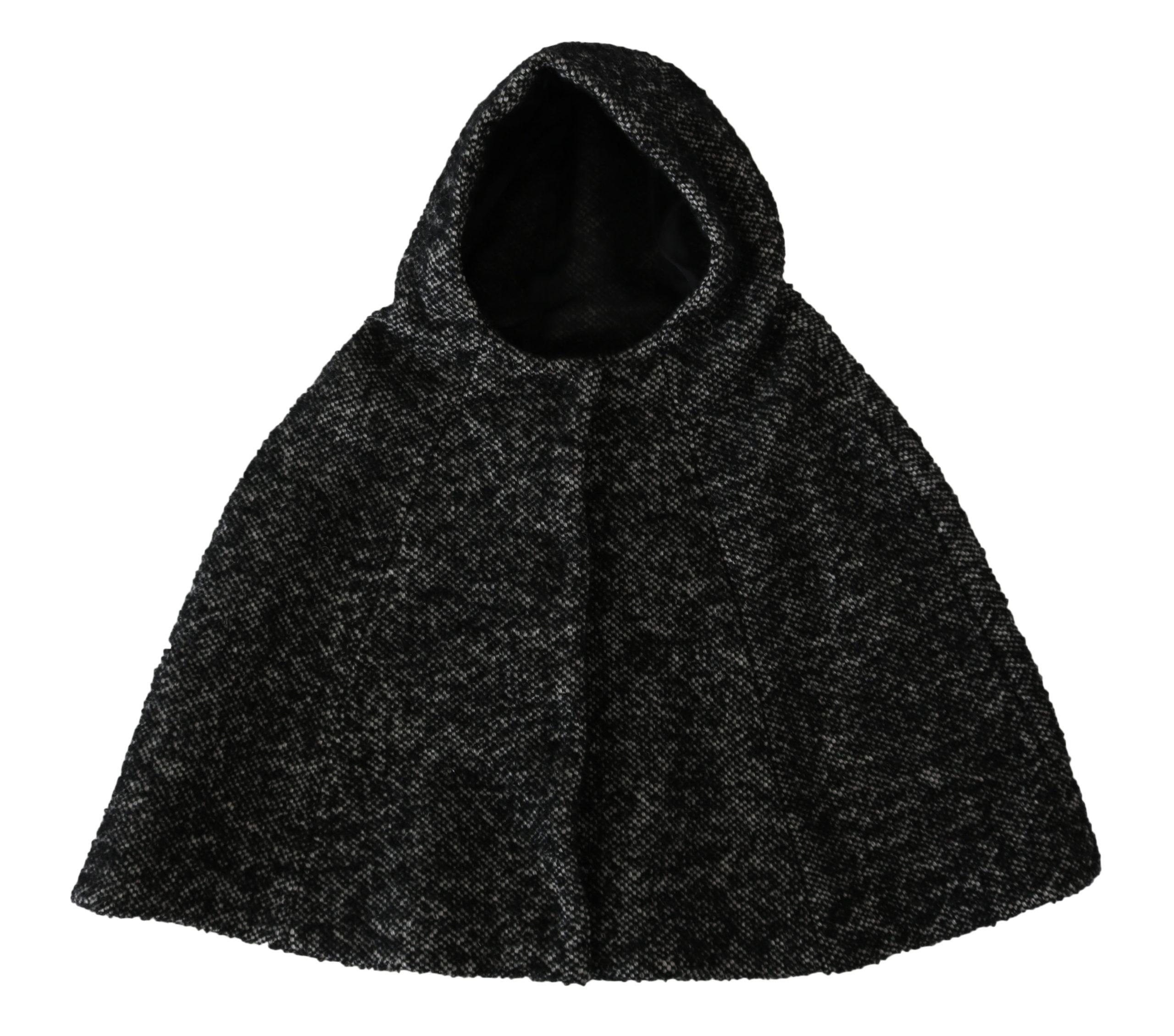 Dolce & Gabbana Women's Tweet Wool Shoulder Hooded Hat Gray TSH4233 - 57 cm S