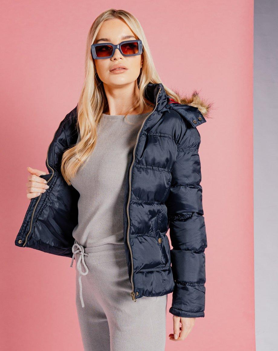 Fur Hood Puffer jacket - Navy / 8