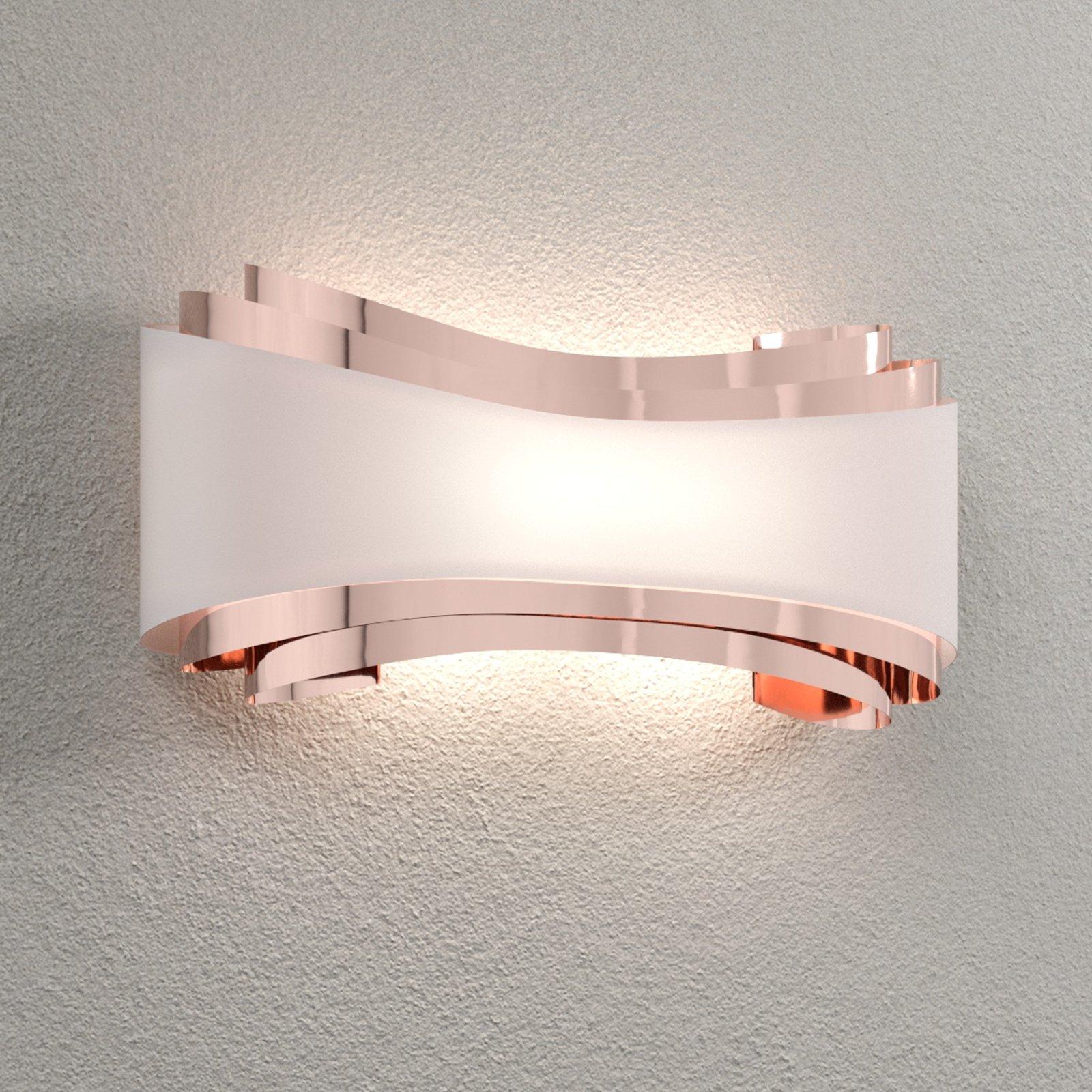 LED-vegglampe Ionica, kobber med glassblende