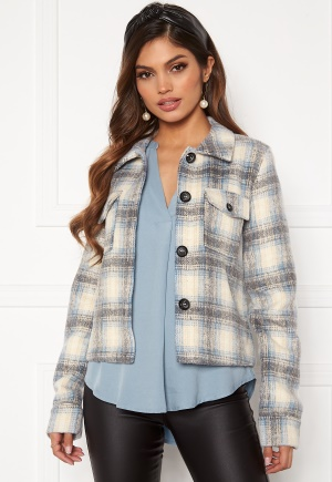 ONLY Lou Short Check Jacket Pumice Stone M