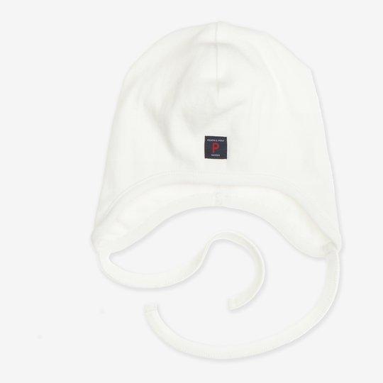 Hjelmlue hvit nyfødt hvit