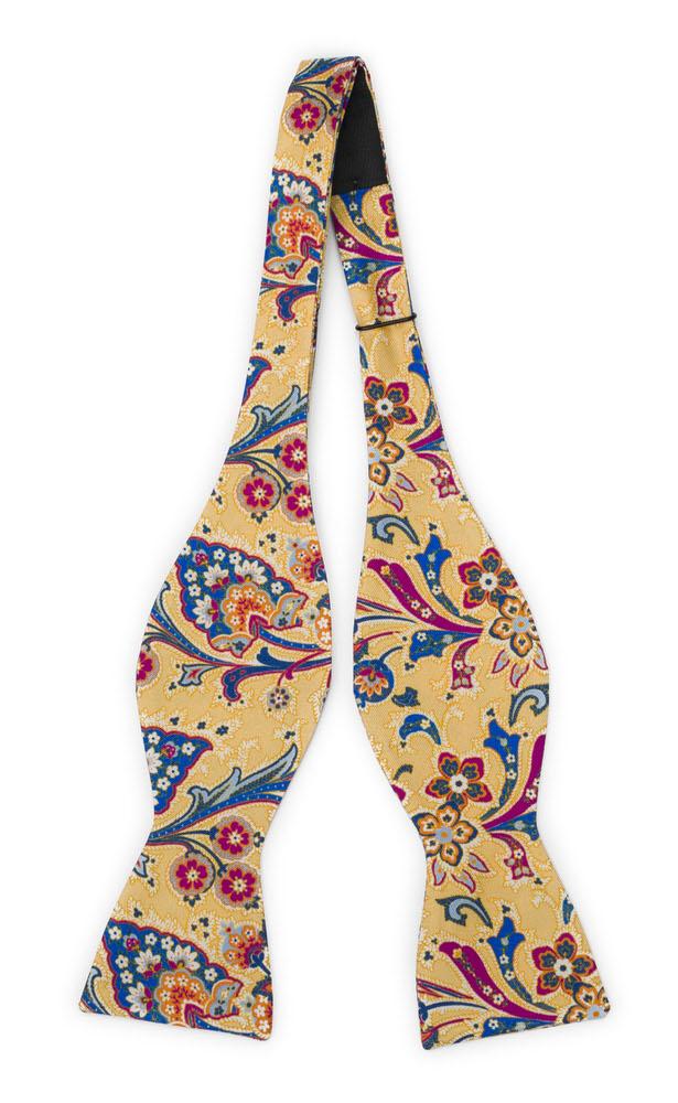 Silke Sløyfer Uknyttede, Surrealistiske, flerfargete blomster på gult