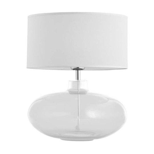 Bordlampe Skien, skjerm hvit, glassfot klar