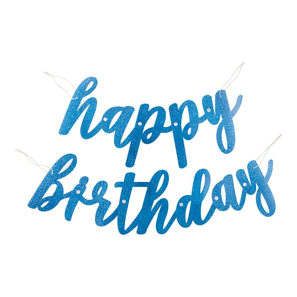 Girlang Happy Birthday Blå Glittrig