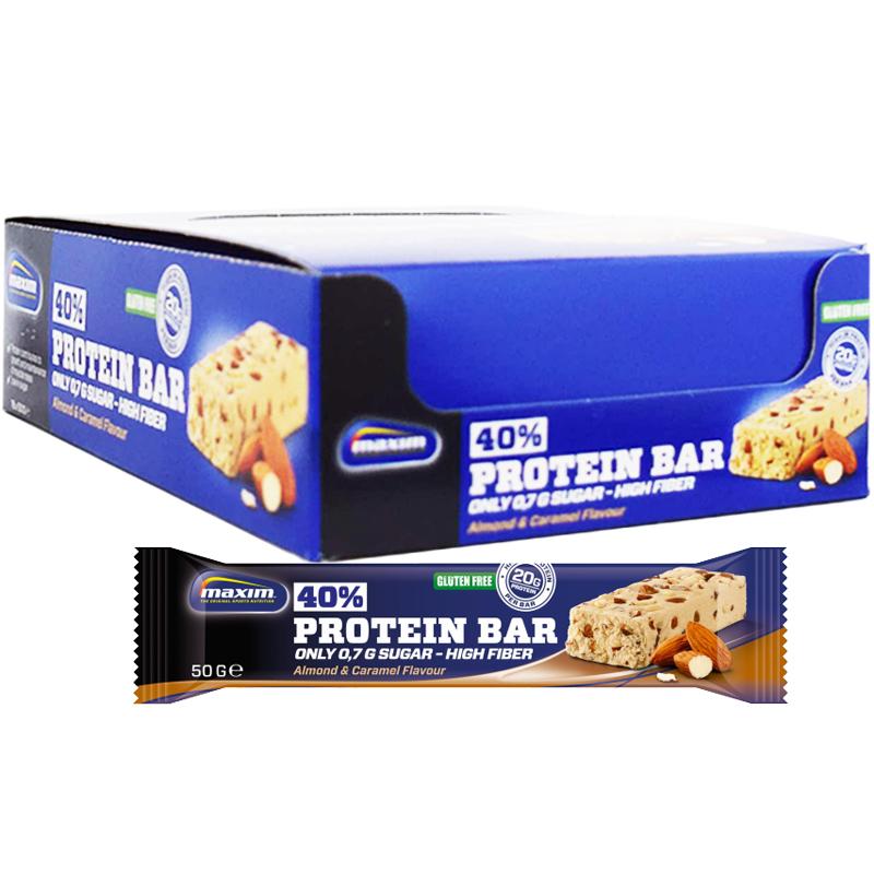 "Hel Låda Proteinbars ""Almond & Caramel"" 18 x 50g - 58% rabatt"