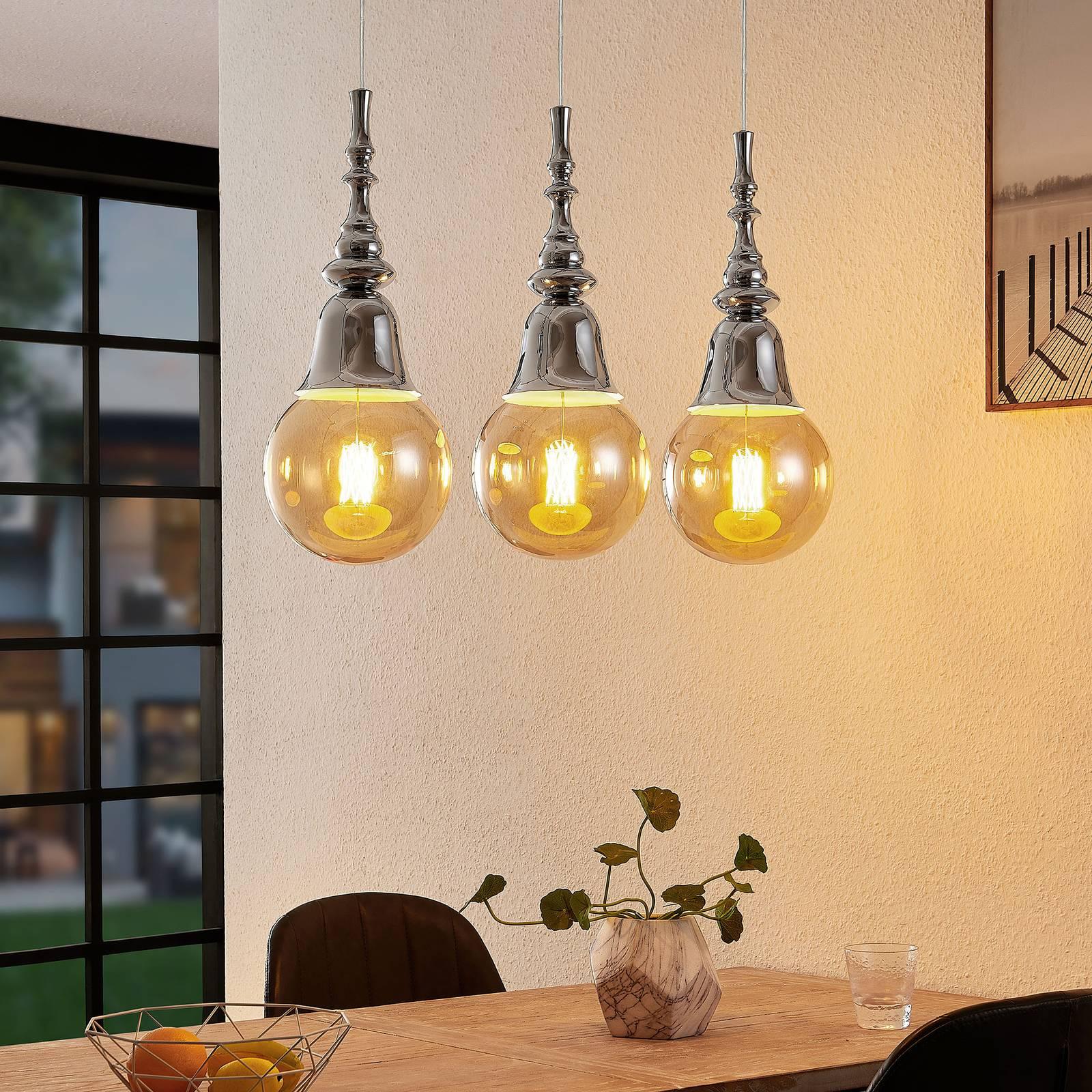 Lucande Gesja -riippuvalo, 3-lamppuinen, kromi