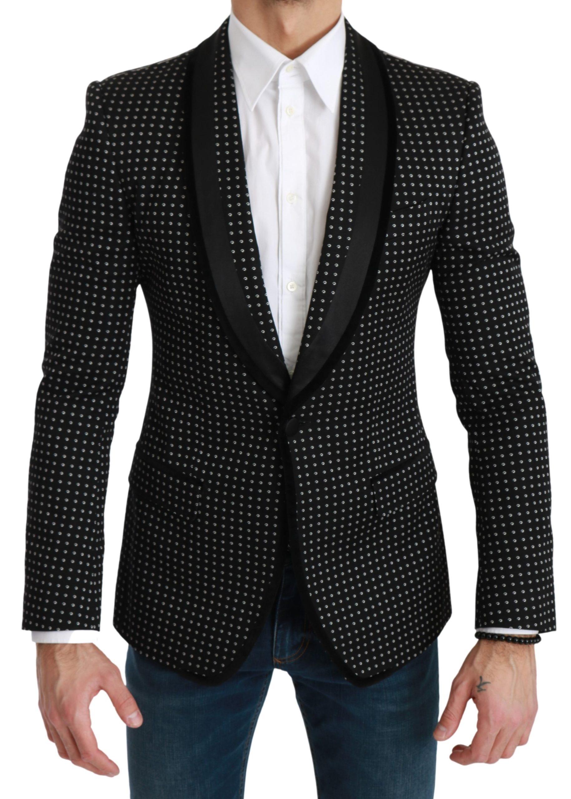 Dolce & Gabbana Men's Embroidered Single Breasted Blazer Black KOS1739 - IT46 | S