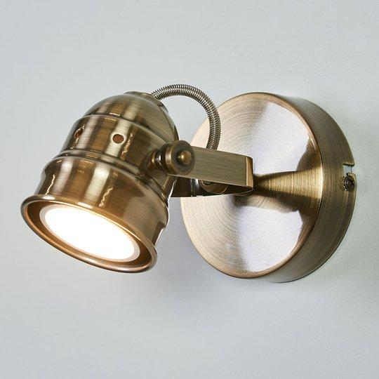 LED-vegglampe Leonor i antikk messing