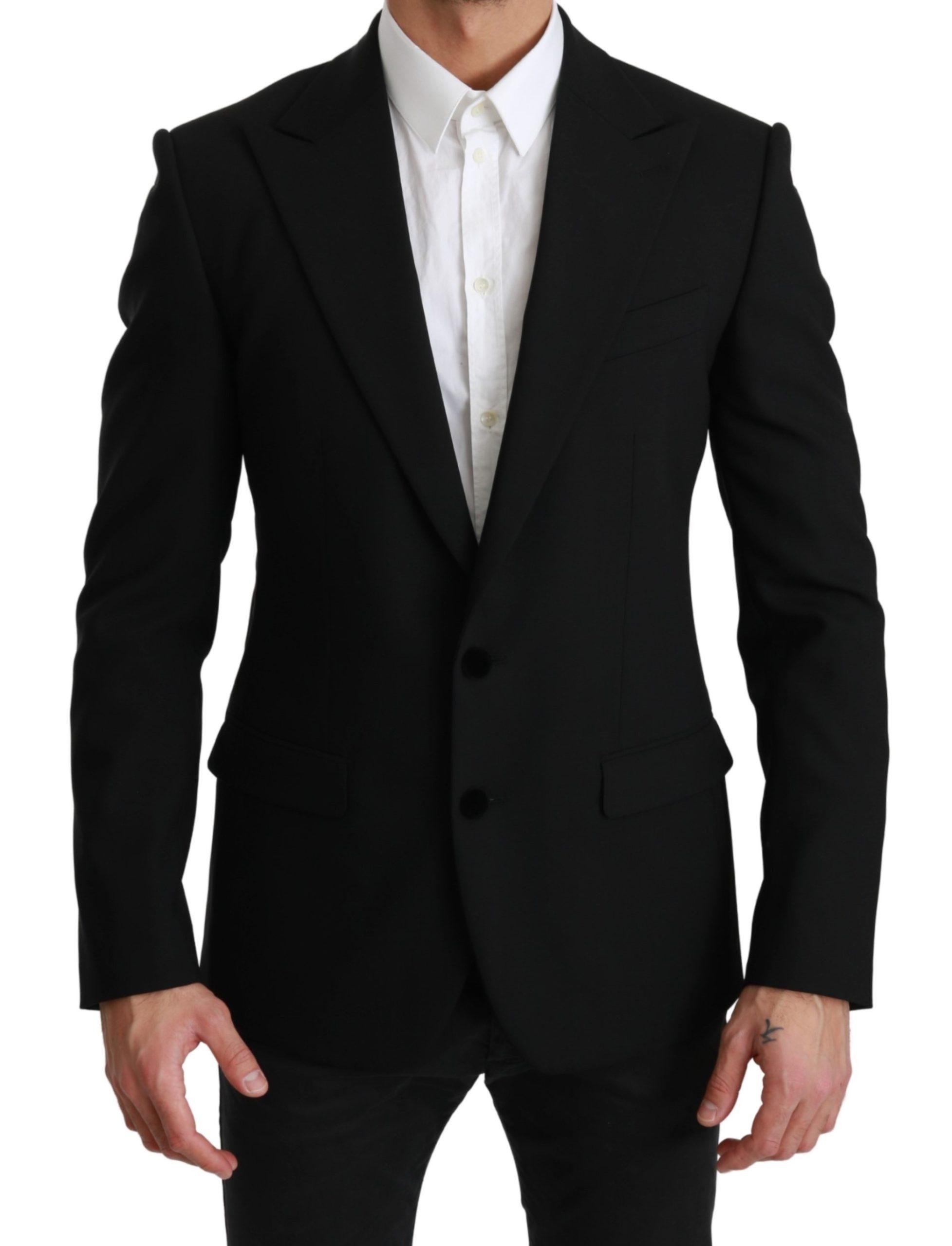 Dolce & Gabbana Men's Solid Wool Stretch MARTINI Blazer Black JKT2513 - IT46 | S