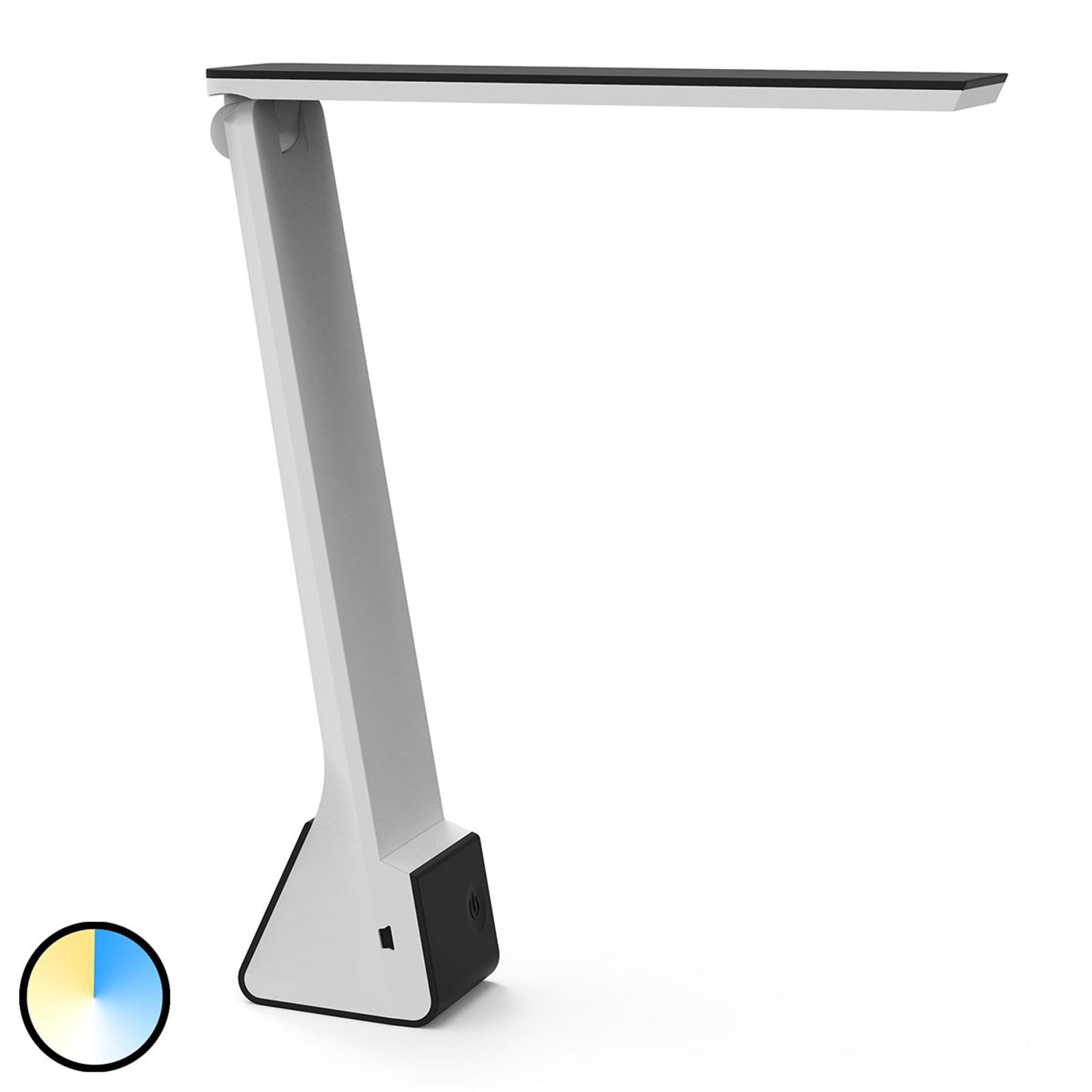 LED-työpöytälamppu MAULseven, akku, musta