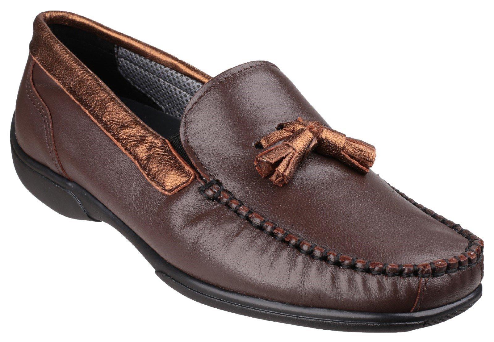 Cotswold Men's Biddlestone Slip On Loafer Shoe Various Colours 20285 - Brown/Gold 3