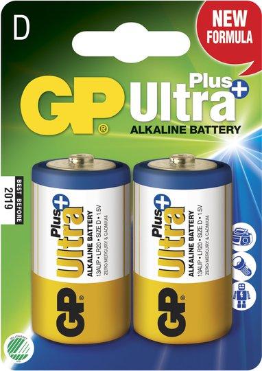 GP Batterier Ultra Plus Alkaline D-batteri LR20 2-pack