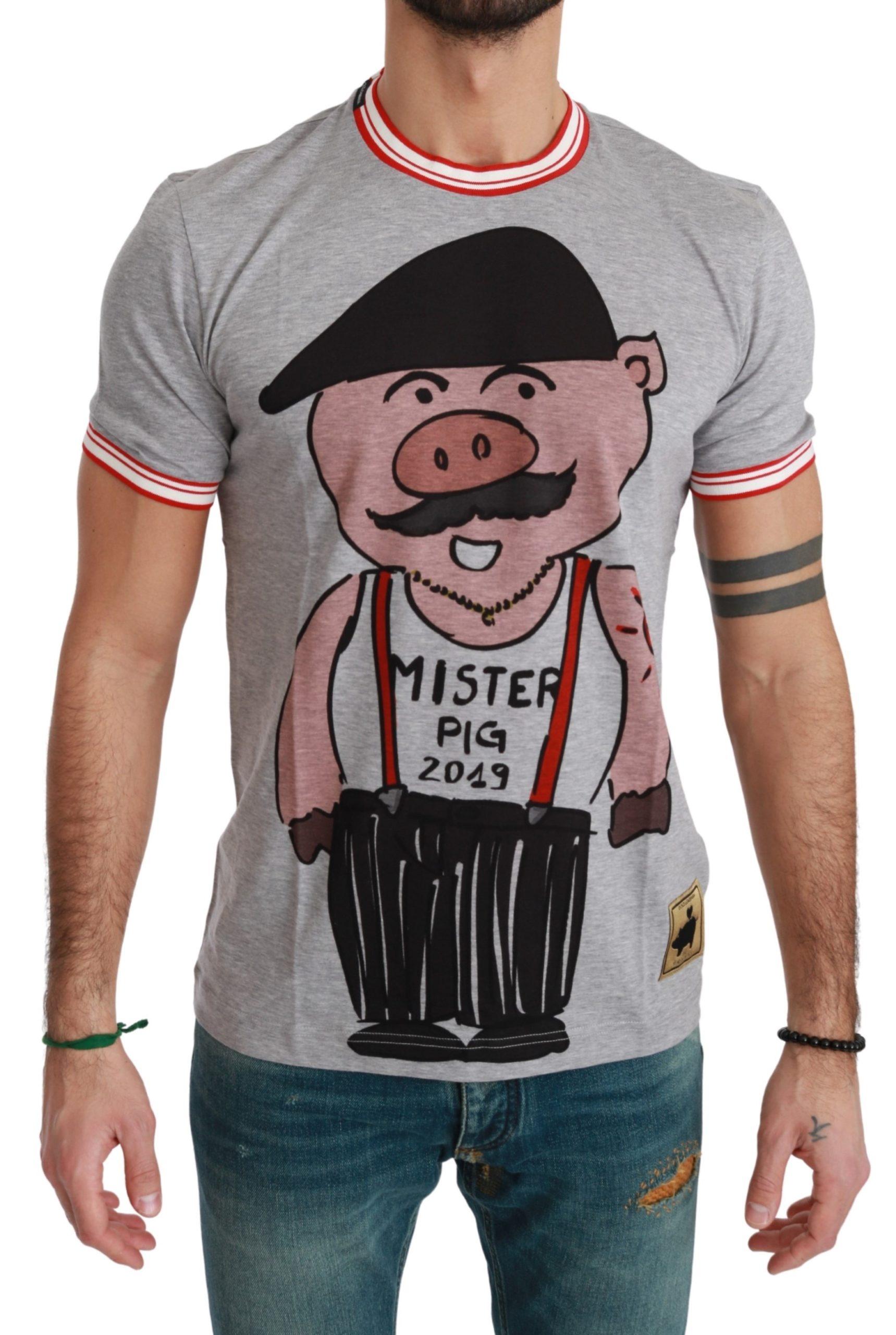 Dolce & Gabbana Men's Cotton the Pig T-Shirt Gray TSH4557 - IT44 | XS