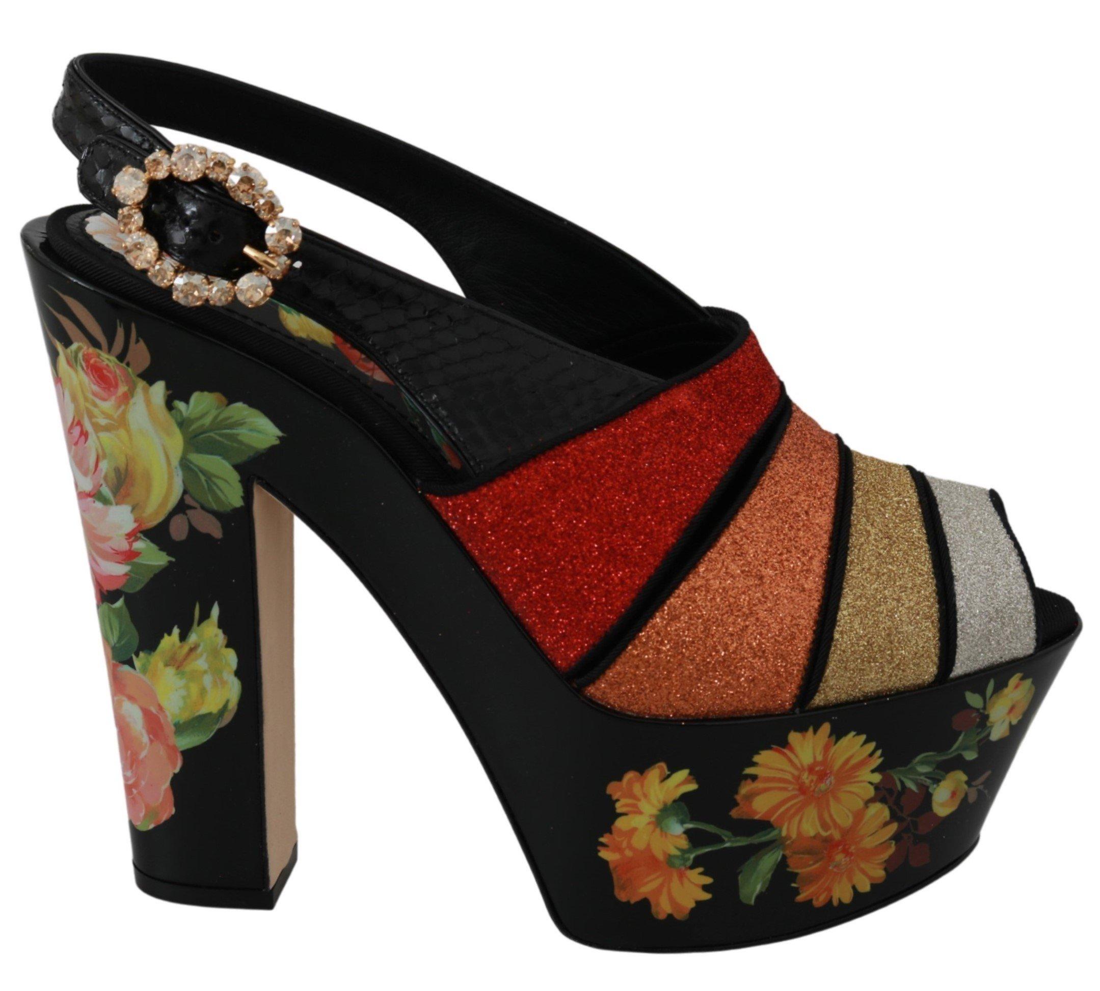 Dolce & Gabbana Women's Floral Wedges Ankle Strap Sandals Black LA6470 - EU36/US5.5