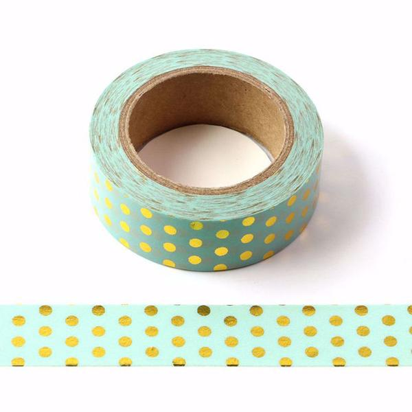 Mint and Gold Spot Washi Tape