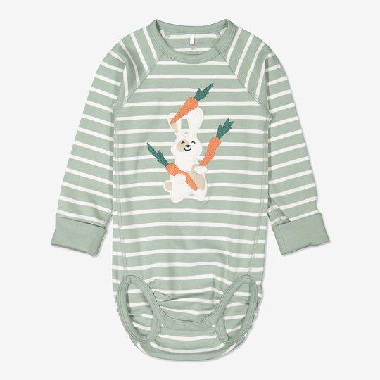 Stripet body baby grønn